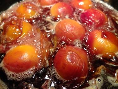 Peach Melba on the stove.