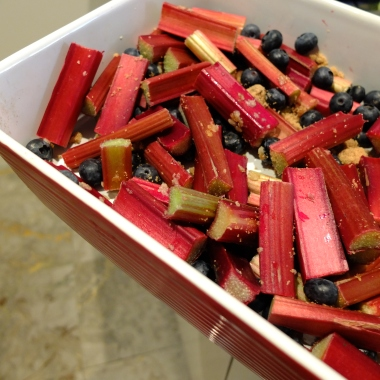Rhubarb, Ginger and Blueberry Compote