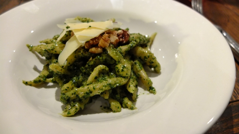 Trofie with basil and walnut pesto.